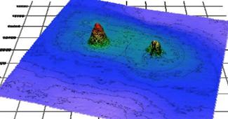 海底の石材堆積状況
